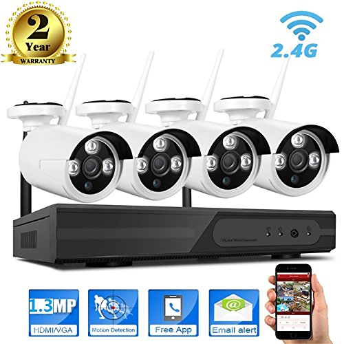 960P Wireless Camera System,Wifi IP NVR Security Kits,4x1.3 Megapixel,36 IR Night Vision Light,IP66 Outdoor Weatherproof Metal Housing,Prefect for Home&Office Surveillance Video Monitoring Remote View by Rcllb