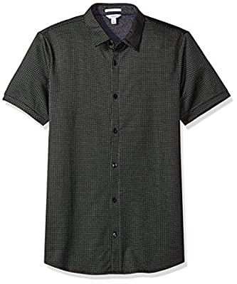 Calvin Klein Men's Textured Jacquard Coat Front Shirt