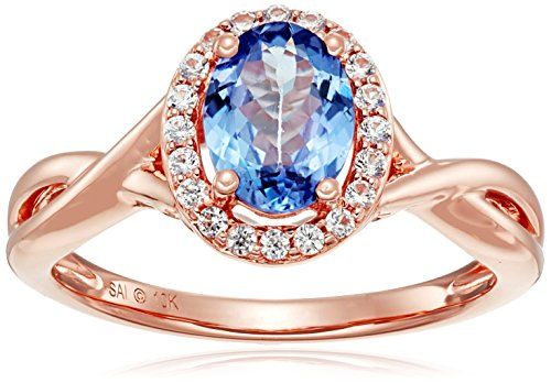 10k Pink Gold Tanzanite and Created White Sapphire Oval Ring, Size 7