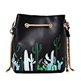 Felice Womens Faux Leather Drawstring Bucket Handbags Cute Mini Cactus Embroidery Satchel Purse (black)