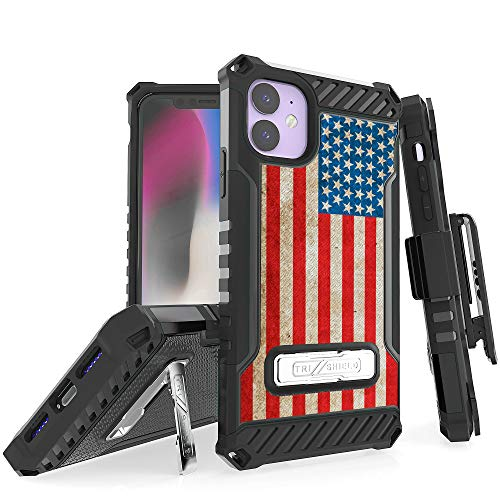 """BEYOND CELL Tri-Shield Phone Case Compatible with iPhone 11 (2019) 6.1"""" only, Military Grade Drop Tested, Shockpoof High Impact Rugged Armor Cover with Metak Kickstand, Belt Clip Holster from Beyond Cell"""