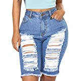 Creazrise Women's High Waist Distressed Stretch Shorts Jeans Bermuda Hot Shorts (Black,XL) (Blue, S)