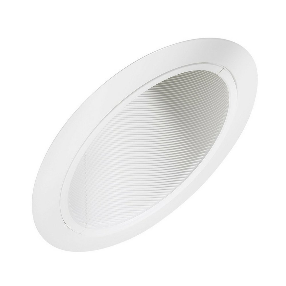 "Four-Bros 6"" Inch Sloped Ceiling Recessed Trim - White Can Light Baffle Trim - Best Used with Four Bros Lighting Remodel & New Construction Housing - Sloped Ceilings - BR30 PAR30 Compatible"