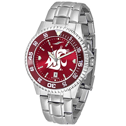 Washington State Cougars Competitor Steel AnoChrome Color Bezel Men's Watch