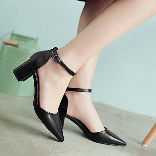 Carolbar Women's Grace Chic Pointed Toe Block Mid Heel Buckle Court Shoes Black b261t94y0