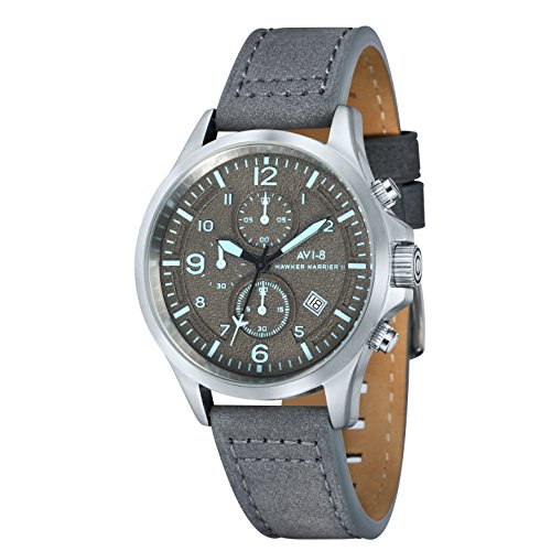 AVI-8 AV-4001-07 Mens Hawker Hurricane II Grey Leather Strap Chronograph Watch