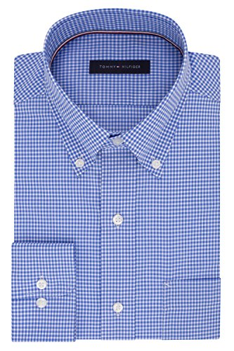 Tommy Hilfiger Men's Big and Tall Non Iron Regular Fit Gingham Buttondown Collar Dress Shirt, English Blue, 18.5
