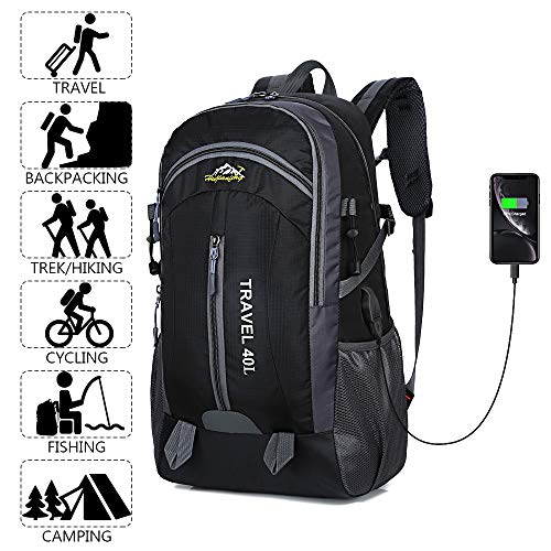 Recsoul Hiking Travel Backpack Durable Nylon 40L Outdoor Sports Travel Mountaineering Daypack with USB Charging Port Unisex