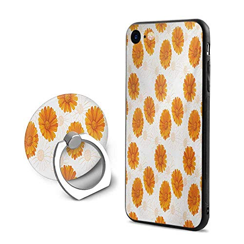 Burnt Orange iPhone 6 Plus/iPhone 6s Plus Cases,Blooming Calendula Flowers Watercolor Botany Themed Composition Burnt Orange and White,Design Mobile Phone Shell Ring Bracket