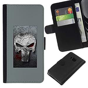 NEECELL GIFT forCITY // Billetera de cuero Caso Cubierta de protección Carcasa / Leather Wallet Case for HTC One M7 // GRAY SANCIONAR CRÁNEO