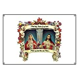 CafePress Sacred And Immaculate Hearts - Vinyl Banner, 44''x30'' Hanging Sign, Indoor/Outdoor