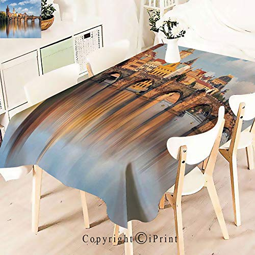 Pretty Pattern Multi Functional Table Cloth Table Cover,Bridge in Prague Czech Republic Reflection for Party Picnic Dining Weddings Christmas,W55 -