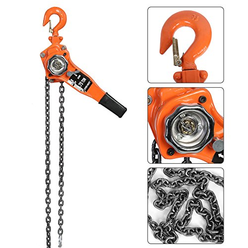 Lever Hoist Chain Block Hoist Ratchet Manual Lever Chain Come Along Chain Puller 10FT Lifting Equipment - Orange (3T / 6613.9Lbs)