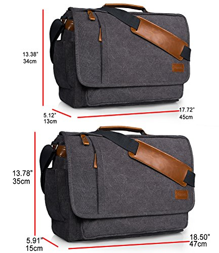 Estarer Computer Messenger 17-17.3 Inch Water-resistance Canvas Laptop Shoulder Bag for Travel Work College New Version by Estarer (Image #3)