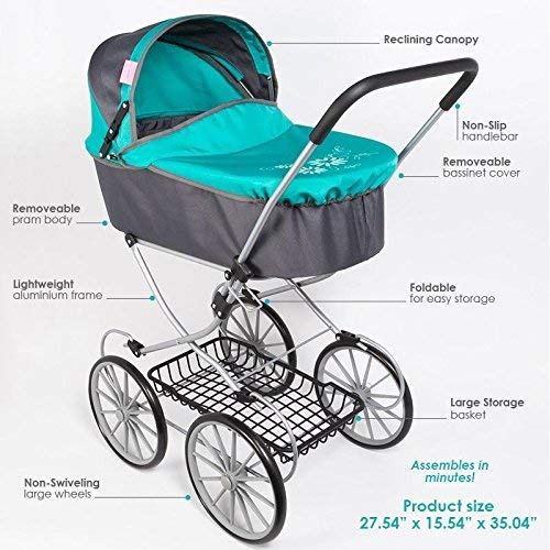 Paradise Galleries Reborn Baby Doll Toy Stroller Carriage for Dolls up to 22 inches [並行輸入品]   B07HLH52Z1
