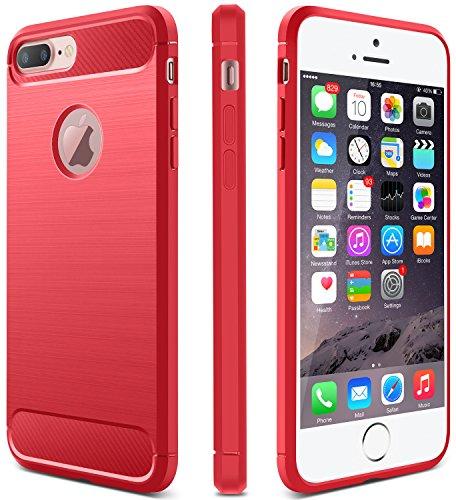 CLONG iPhone 7 Plus Case Flexible TPU Slim Soft Carbon Fiber Armor (Fiber Stripe)