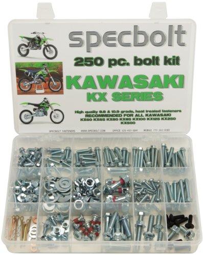 250pc Specbolt Kawasaki KX two stroke Bolt Kit for Maintenance & Restoration of MX Dirtbike OEM Spec Fastener KX60 KX65 KX80 KX85 KX100 KX125 KX250 KX500 60 65 80 85 100 125 250 500