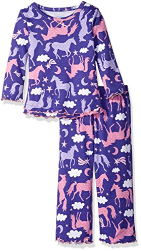 Sara's Prints Little Girls' Cozy Ruffled Relaxed Fit Pajama Set, Spotted Horses, (Ducky Sleeper)