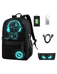 flymei Anime dibujos animados mochila con puerto de carga USB luminoso y el bloqueo antirrobo & Lápiz Caso, moda unisex mochila hombro escuela mochila para portátil Bolsa de viaje College Bookbag, color negro