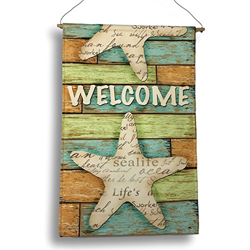 BANBERRY DESIGNS Welcome Garden Flag - Beach Starfish Design with Weathered Background - Nautical Banner - 21 1/4