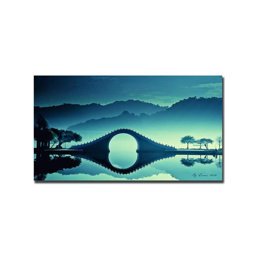diseño único HPCAGLL Pintura Diamante 5D Bordado Pintura en en en Tinta Bricolaje. Pequeño Puente Altas montañas Producción de mosaicos de decoración Lago.  Vuelta de 10 dias
