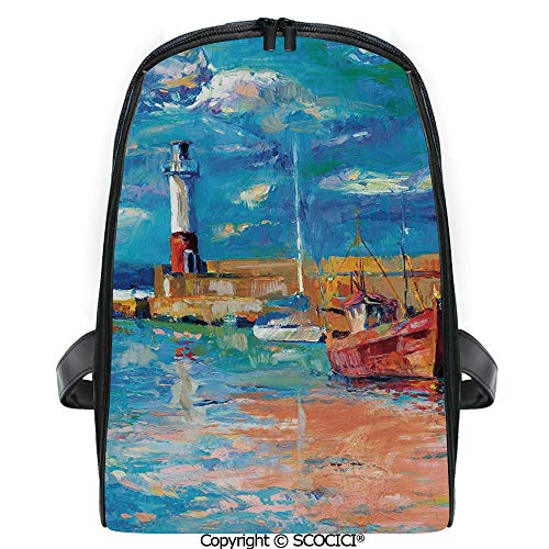 SCOCICI Casual Stylish Backpack Oil Painting Tones Style Lighthouse and Boats on Sea Shore Town Coastal Charm Picture Decorative 2019 Deals! One Size