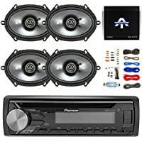 Pioneer DEH-X3900BT Single DIN In-Dash Car Stereo Receiver - Kicker 43CSC684 450-Watt 6x8 CS Series 2-Way Coaxial Speakers (2-Pairs), Autotek TA10504 1000W, 4 Chan. Amp & Enrock Audio 8 Gauge Wire