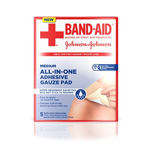 Band-Aid Brand of First Aid Products All-in-One Adhesive Gauze Pad, Medium
