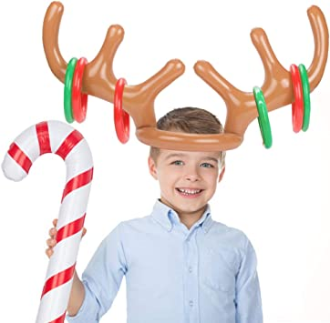 Ring Toss Inflatable Reindeer Antler Headgear Christmas Party Game Hoopla Toys