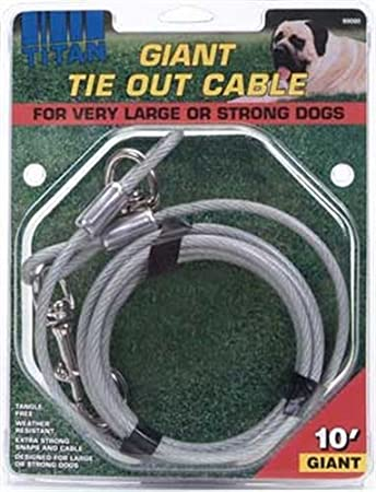 Titan Giant Cable Long Tie Out Silver Coastal Pet Products 89081