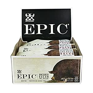 Epic All Natural Meat Bar, 100% Natural, Uncured Bacon & Maple, 1.5 ounce bar, 12 Count (Packaging May Vary)
