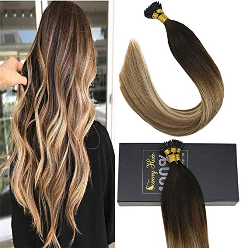 Sunny 18inch I Tip Human Hair Extensions 100% Remy Hair Extensions Darkest Brown Fading to Medium Brown Mixed Blonde Stick Tip Hair Extensions Human Hair 50g/pack