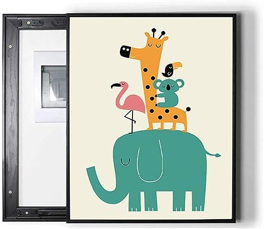 DONGXIN Medidor eléctrico Caja Pintura Decorativa Caja eléctrica Cubierta sin Marco Pintura Sala de Estar Pintura (Color : White, Size : 50 * 60cm 40 * 50cm-Push Right): Amazon.es: Hogar