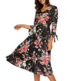 PLENTOP Promotion Maxi Skirts for Women,Dresses for Women Casual Summer,Womens Autumn 3/4 Flare Sleeves Print Dress Bandage Sexy Dress