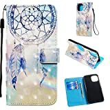 "Wallet Case with Black Dual-use Pen for iPhone 11 Pro,Aoucase Luxury Wrist String 3D Effect Blue Feather Painting Card Holder Shock Resistant Soft TPU PU Leather Case for iPhone 11 Pro 5.8"" 2019"