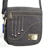 The''Falling Star'' by Camille Conceals - Black Canvas Cross Body Messenger Style Concealed Carry Purse/Bag - Revolver or Compact Semi Automatic