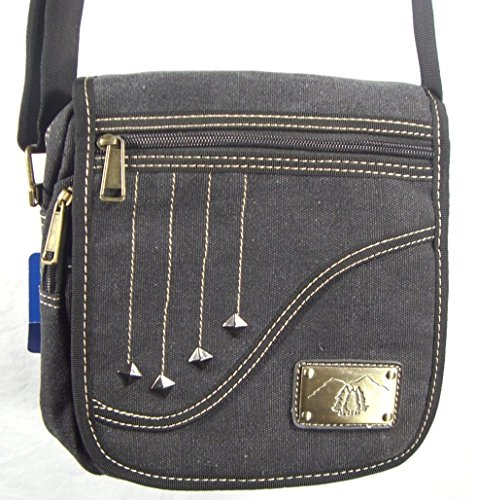 The''Falling Star'' by Camille Conceals - Black Canvas Cross Body Messenger Style Concealed Carry Purse/Bag - Revolver or Compact Semi Automatic by Camille Conceals