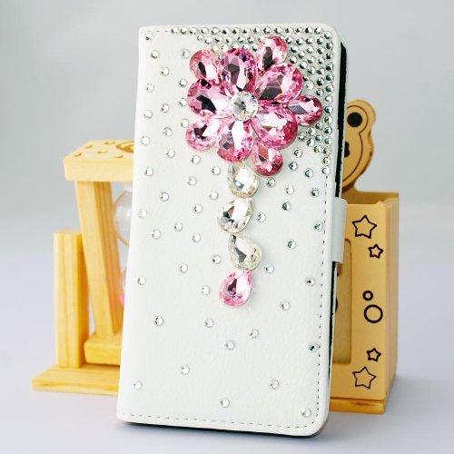 1X NE3C(TM) Samsung Galaxy Mega 6.3 I9200 I9025 I9028 Leather Folio Support Smart Case Cover With Card Holder & Magnetic Flip Horizontals - Pink Crystal Flower