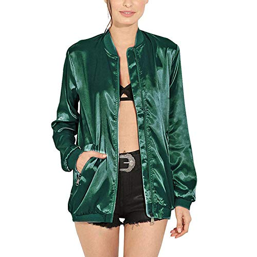 Auspiciousi Basic Donna Jacket Lunga Outwear Green Da Autunno Pocket Zipper Giacche Coat Solid Manica wZzSrqwEx