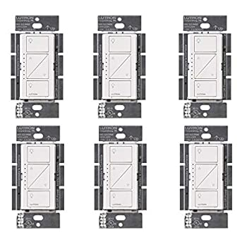 Image of Home Improvements Lutron PD-6WCL-WH Caseta Wireless Smart Lighting Dimmer Switch, White