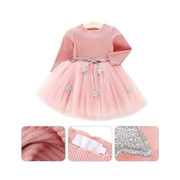 Tutu in maglia a maniche lunghe per neonato Abito in tulle con principessa infantile e gonna in misto cotone per bambini… 1