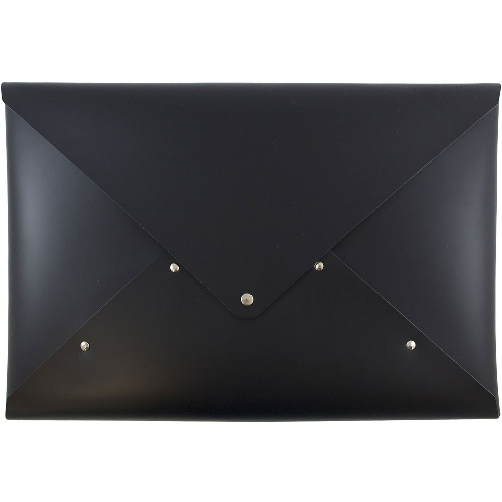 JAM Paper Italian Leather Portfolio with Snap Closure - Legal Size - 10 1/4'' x 14 3/4'' x 3/4'' - Black - Sold Individually