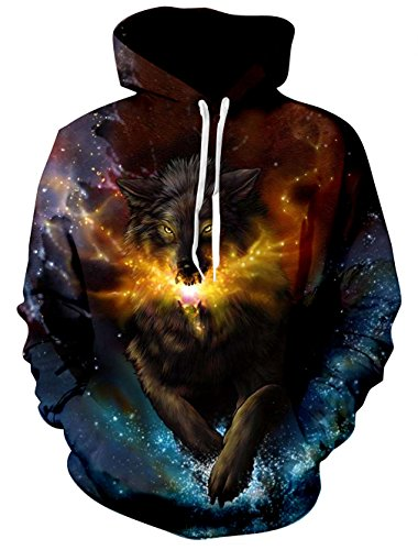 - Loveternal Unisex Galaxy Wolf Sweatshirt 3D Design Printed Long Sleeve Fleece Pullover Hoodies for Teen Boys Girls M