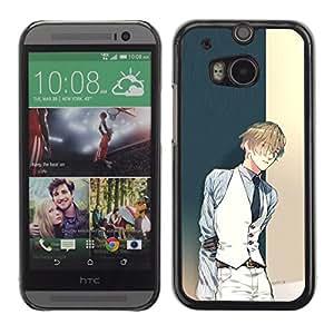 TopCaseStore / la caja del caucho duro de la cubierta de protección de la piel - Anime Guy Tux Vest Fashion Cartoon - HTC One M8