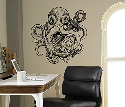 Cheap  A Design World Octopus and Anchor Wall Decal Vinyl Sticker Marine Nautical..