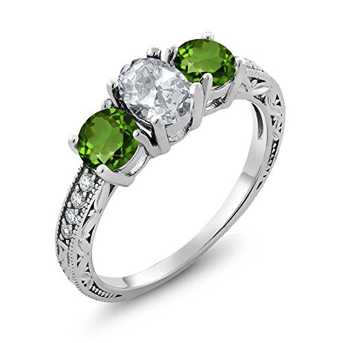 2.07 Ct Oval White Topaz Green Chrome Diopside 925 Sterling Silver Ring (Diopside Green Ring)