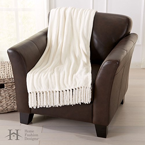 Home Fashion Designs Warm Velvet Plush Throw Blanket with Decorative Fringe. Raya Collection (Eggnog)
