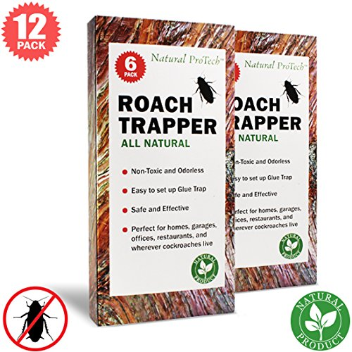Natural ProTech Effective Cockroach Traps Sticky Glue with Bait - 12 pack Roach Traps Pet Safe for Indoor ()