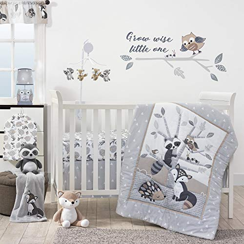 Bedtime Originals Little Rascals 3-Piece Crib Bedding Set - Gray, White, Animals