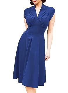 f8c84bde61e YuanDian Damen 50er Jahre Retro Vintage Style Slim Fit Elastisch ärmellos  Halb Offene Kragen Rockabilly Cocktailkleid